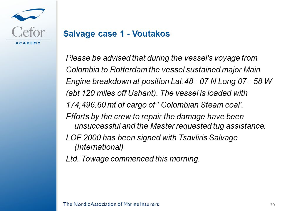 Salvage case 1 - Voutakos