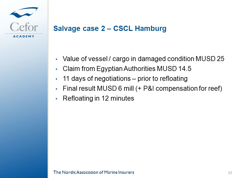 Salvage case 2 – CSCL Hamburg