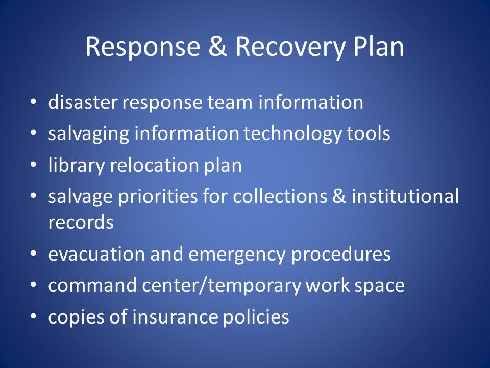 Disaster Response & Recovery - ppt video online download