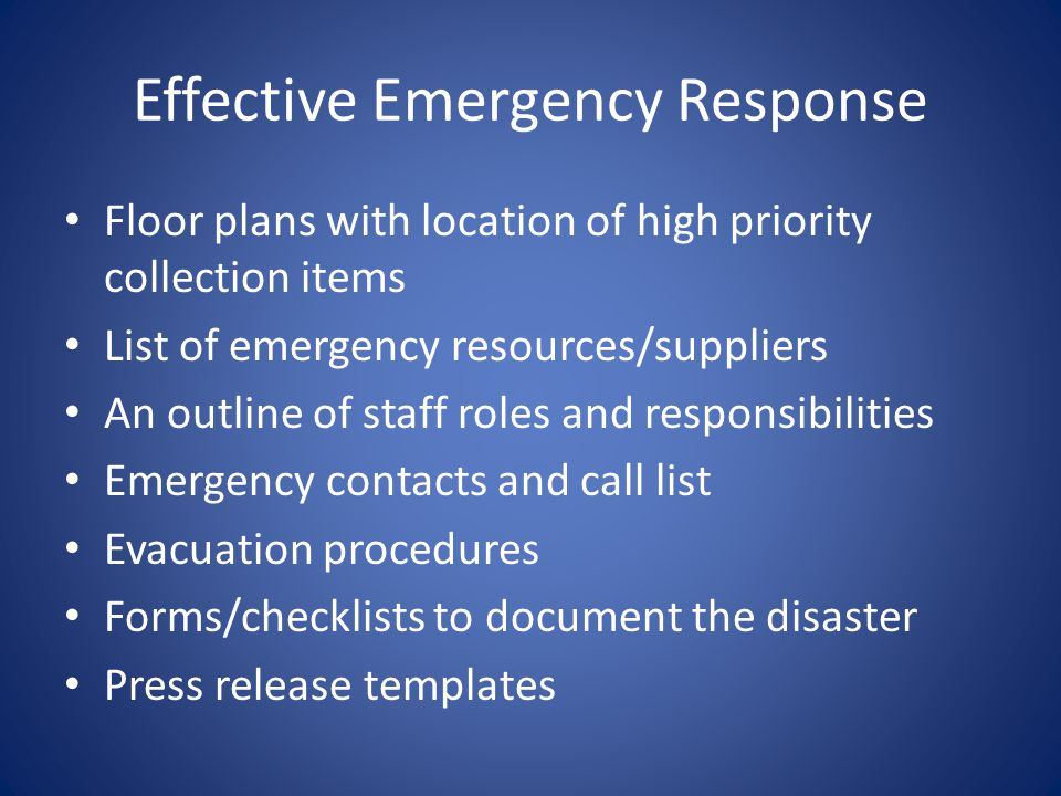 Effective Emergency Response