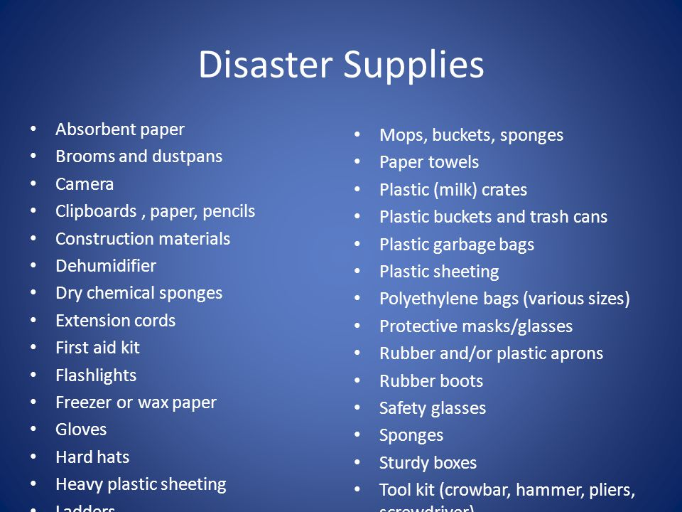 Disaster Supplies Absorbent paper Mops, buckets, sponges