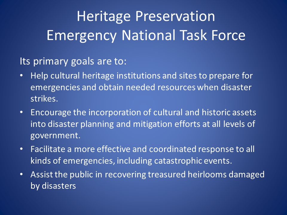 Heritage Preservation Emergency National Task Force