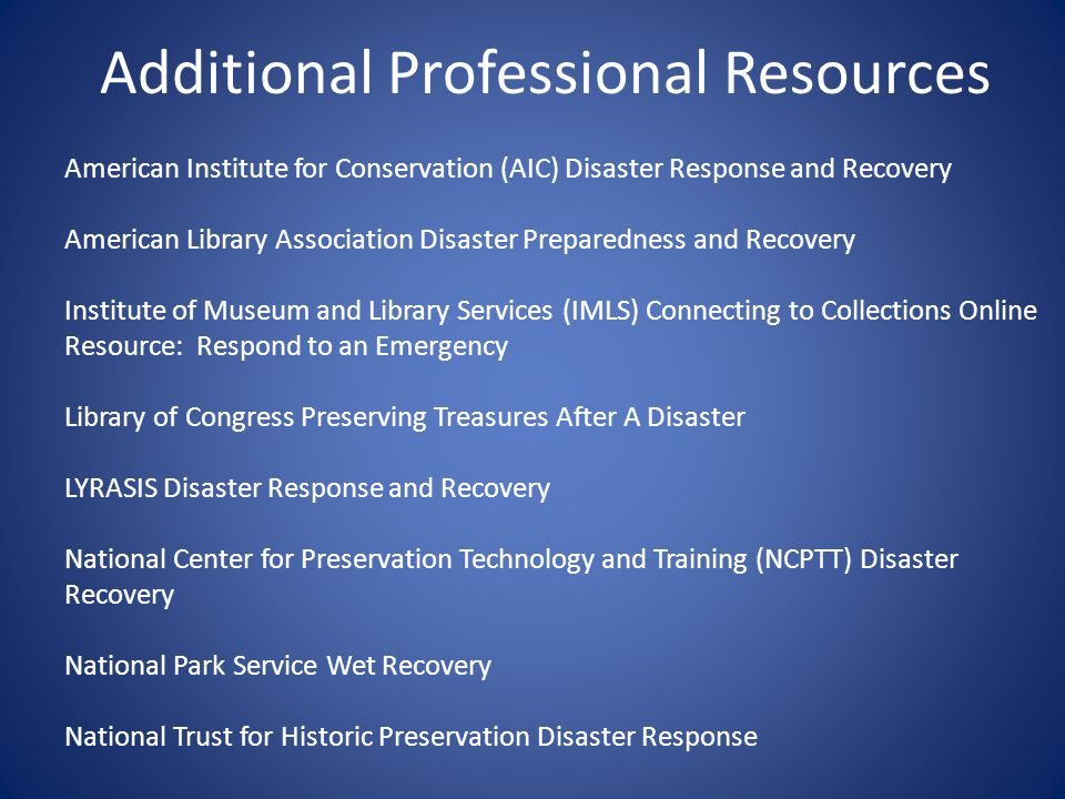 Additional Professional Resources