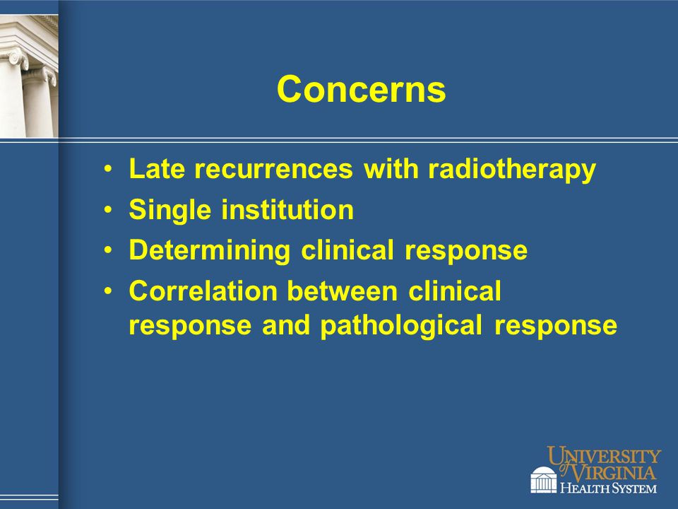 Concerns Late recurrences with radiotherapy Single institution