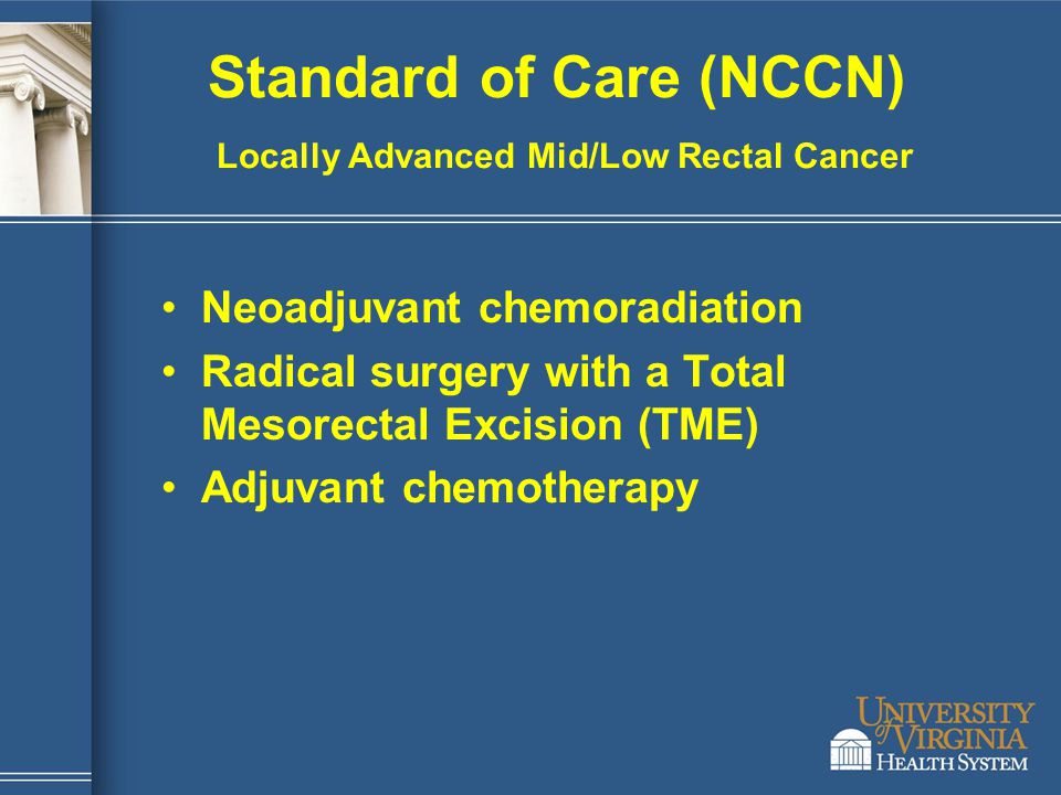 Standard of Care (NCCN) Locally Advanced Mid/Low Rectal Cancer