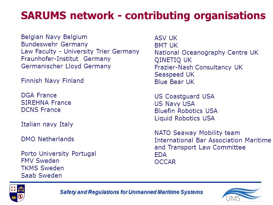 SARUMS network - contributing organisations