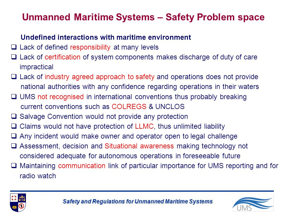 Unmanned Maritime Systems – Safety Problem space