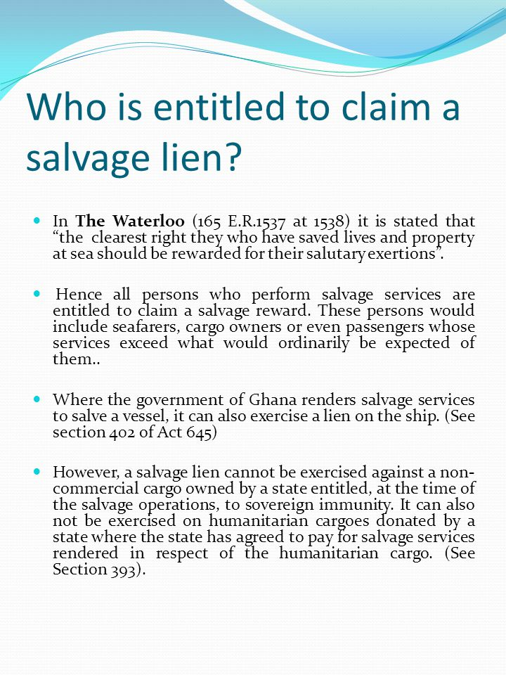 Who is entitled to claim a salvage lien
