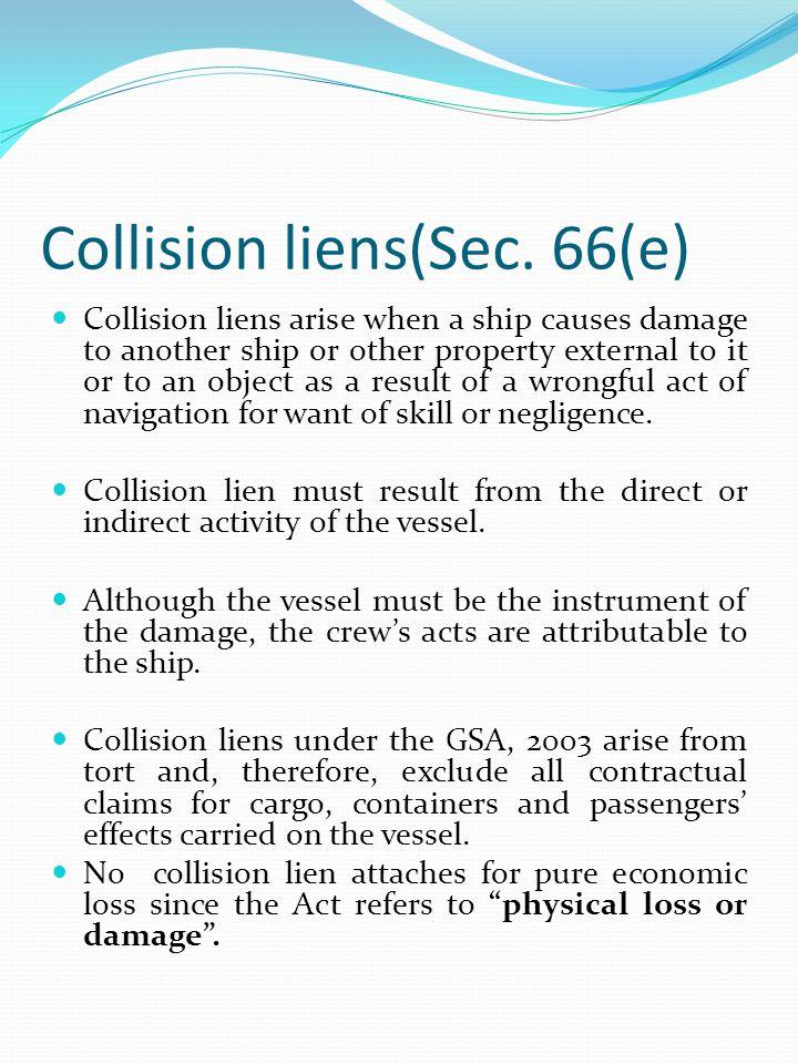 Collision liens(Sec. 66(e)