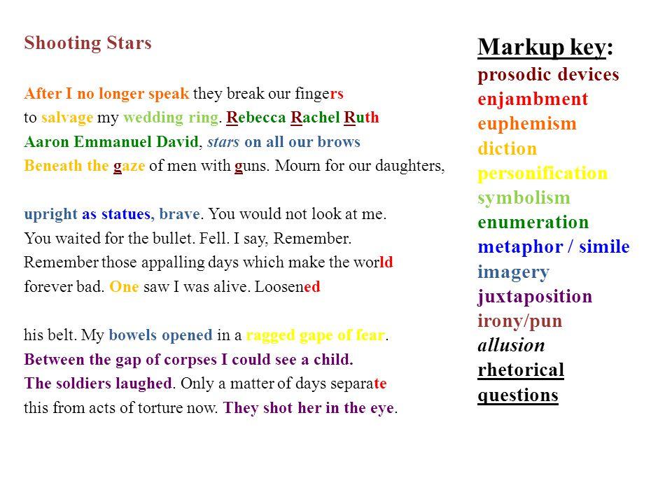 Markup key: Shooting Stars prosodic devices enjambment euphemism
