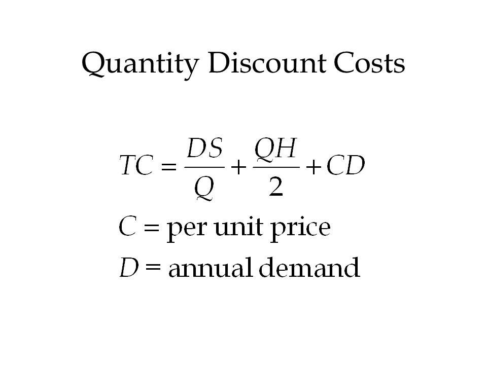 Quantity Discount Costs