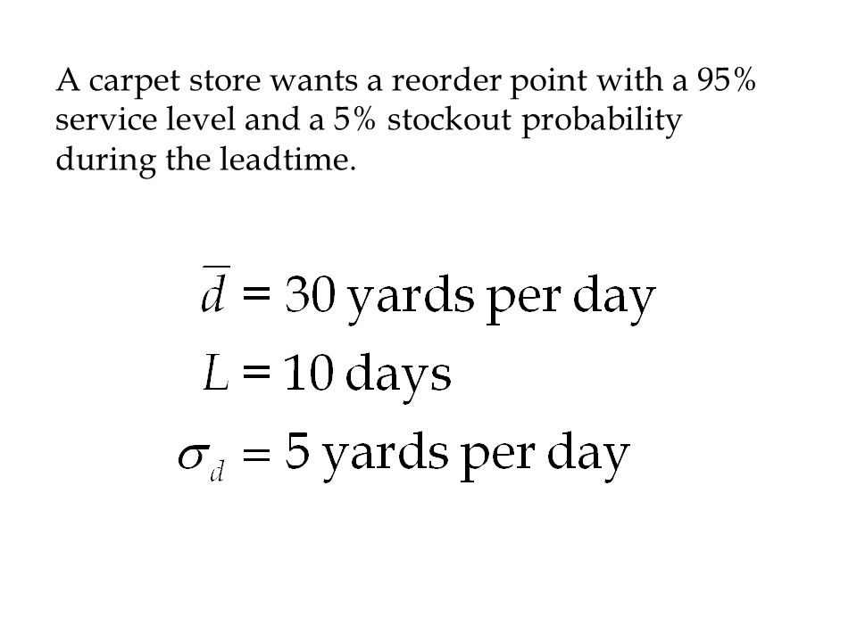 A carpet store wants a reorder point with a 95% service level and a 5% stockout probability during the leadtime.