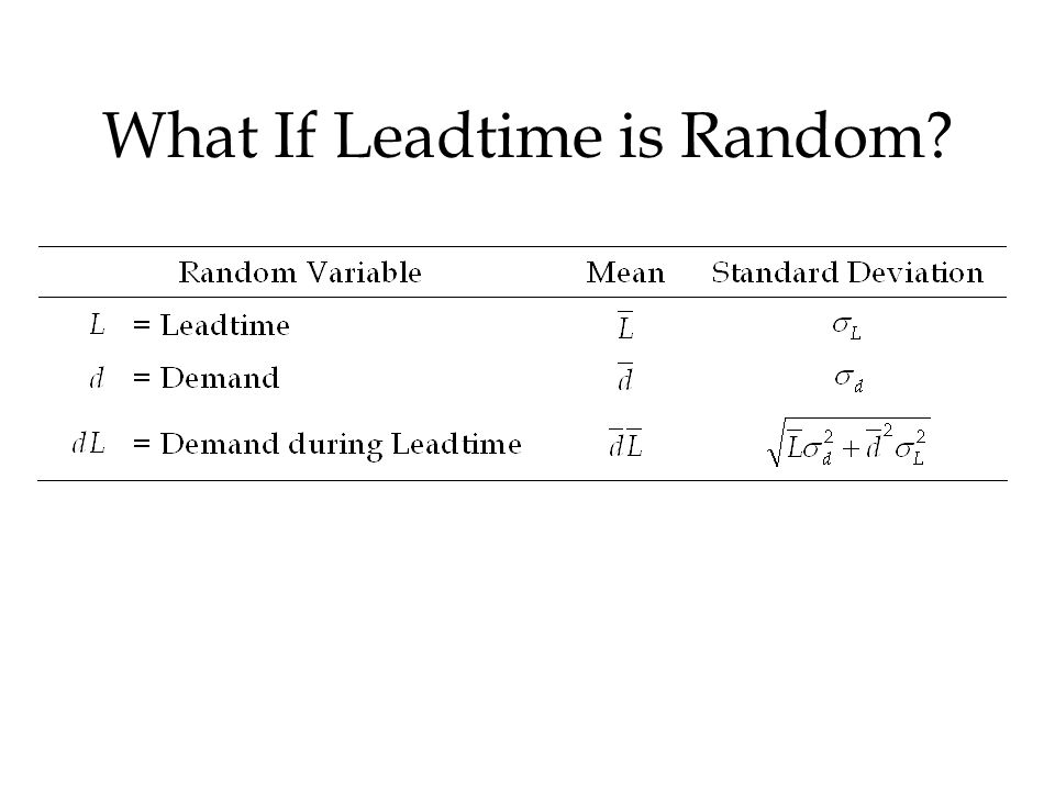 What If Leadtime is Random