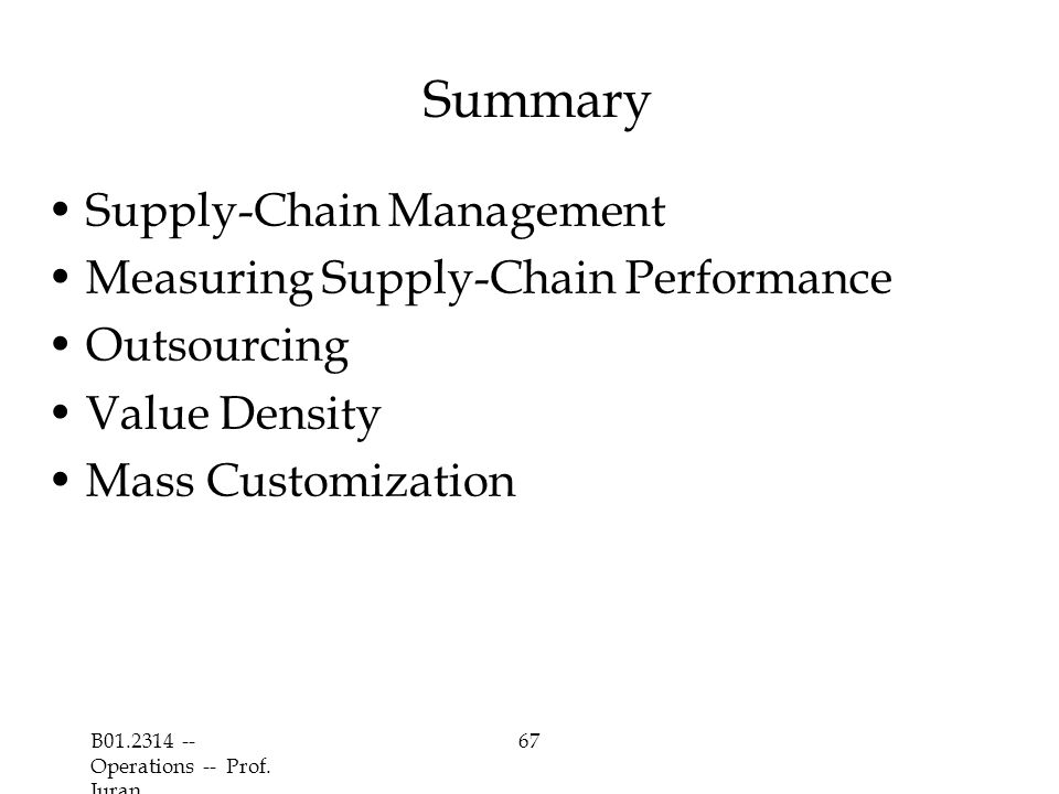 Summary Supply-Chain Management Measuring Supply-Chain Performance