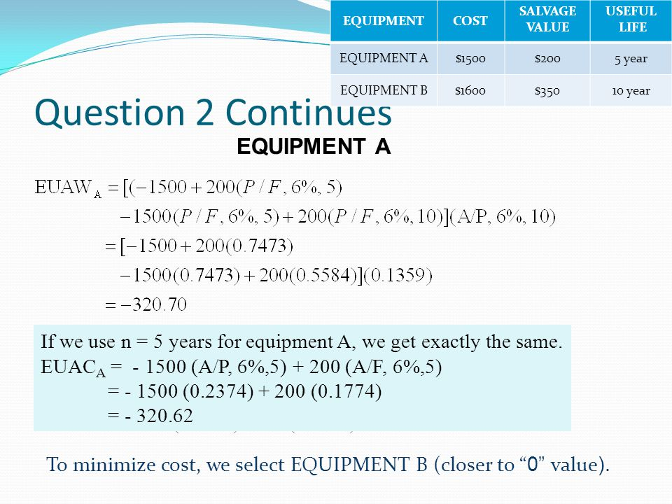 Question 2 Continues EQUIPMENT A EQUIPMENT B