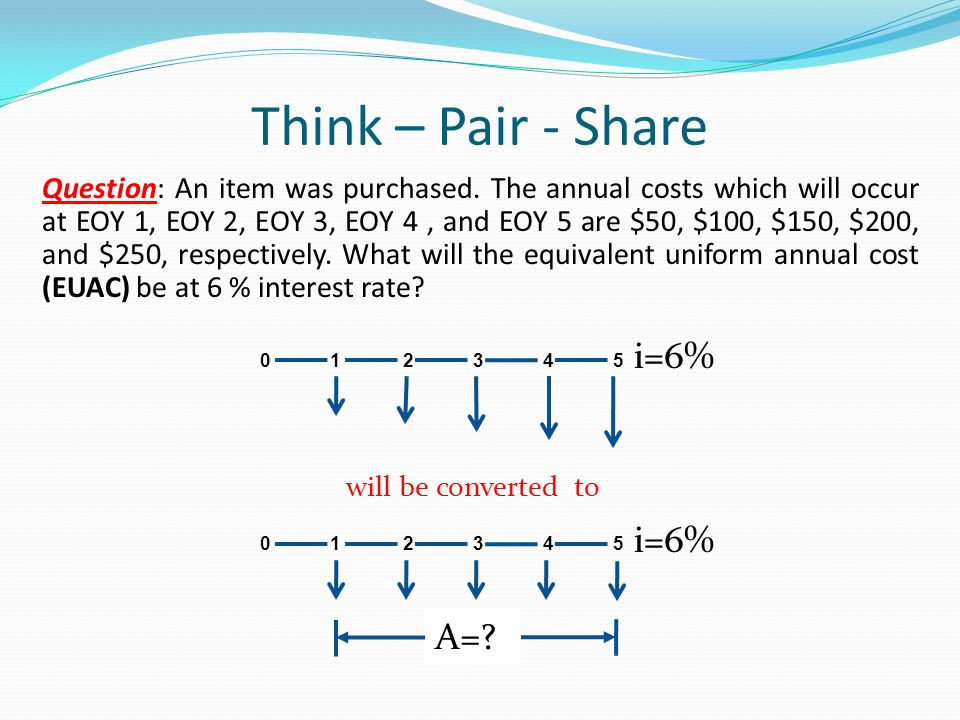 Think – Pair - Share i=6% A=