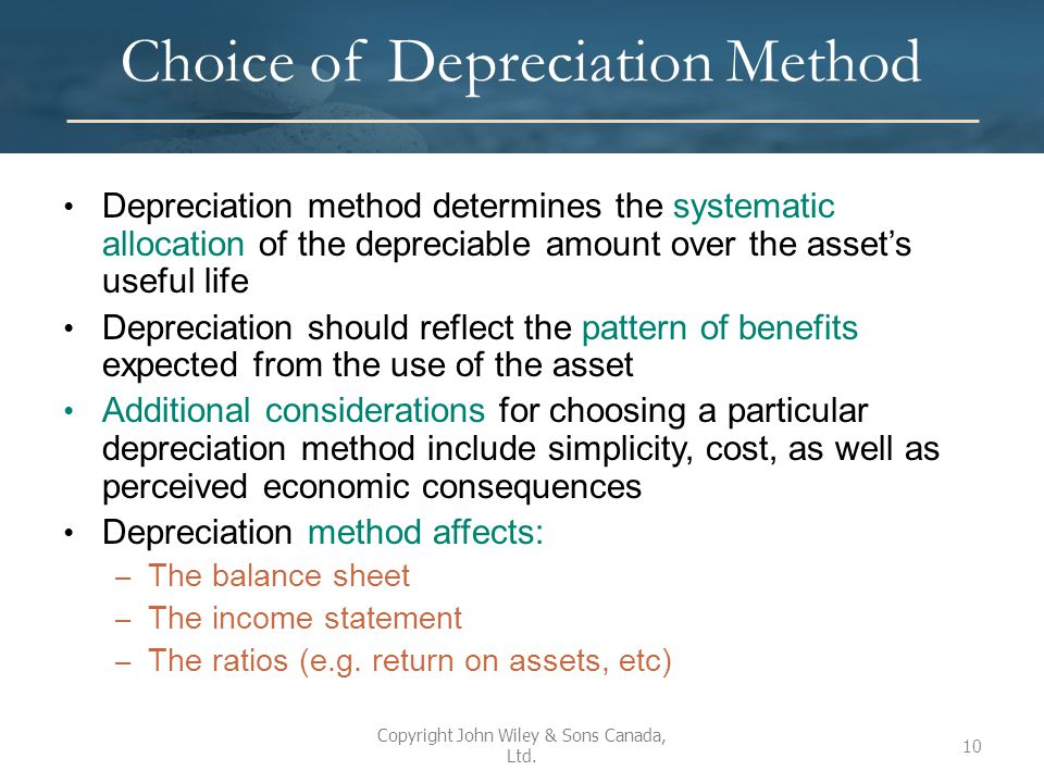 Choice of Depreciation Method