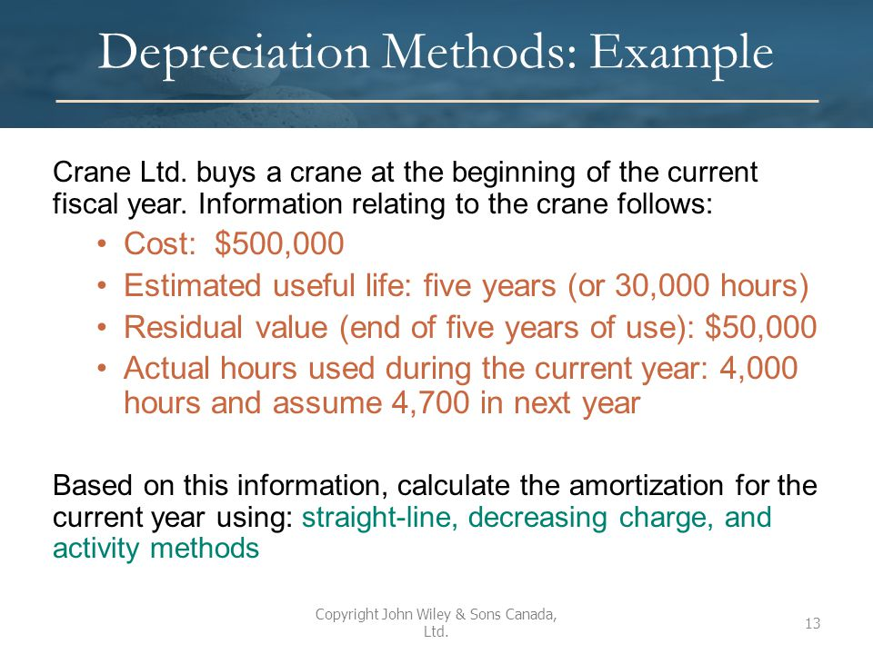 Depreciation Methods: Example