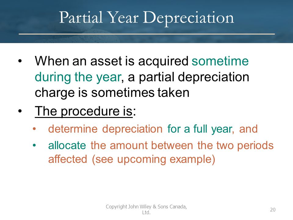 Partial Year Depreciation