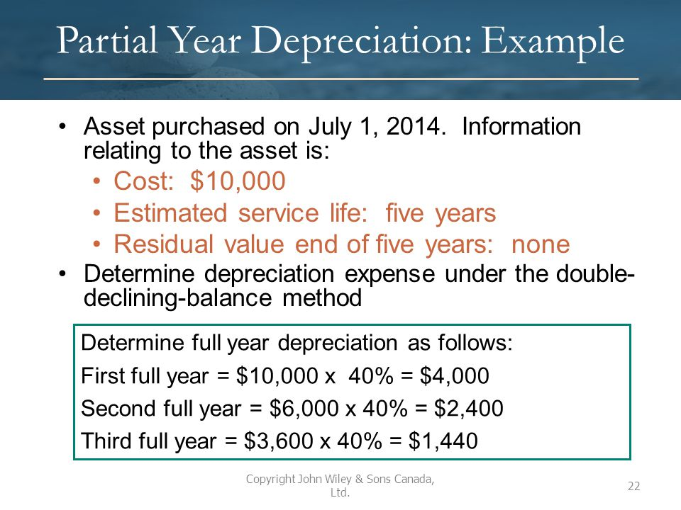 Partial Year Depreciation: Example