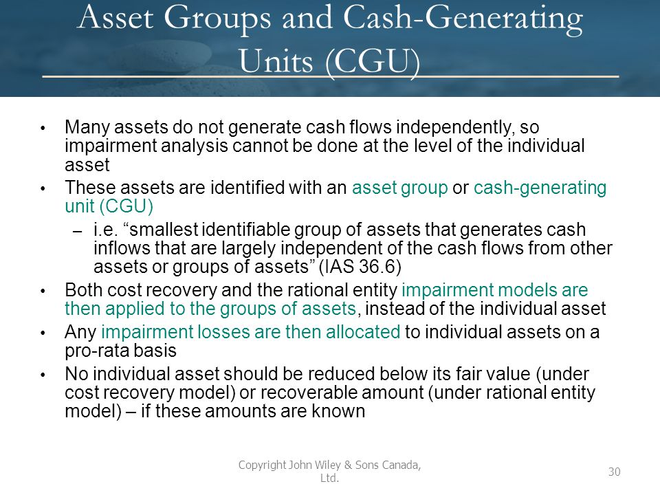 Asset Groups and Cash-Generating Units (CGU)