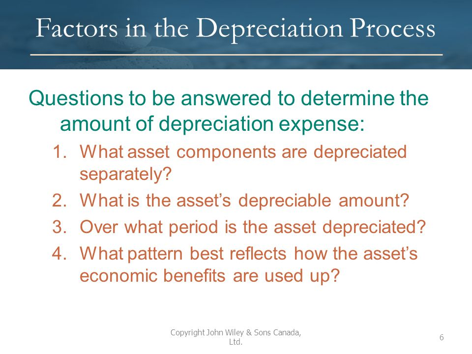 Factors in the Depreciation Process