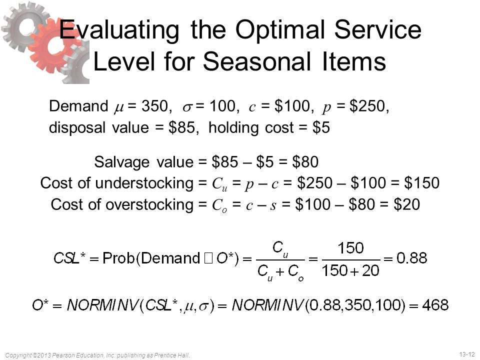 Evaluating the Optimal Service Level for Seasonal Items