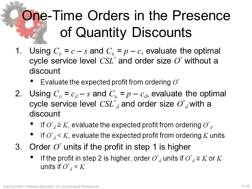 One-Time Orders in the Presence of Quantity Discounts