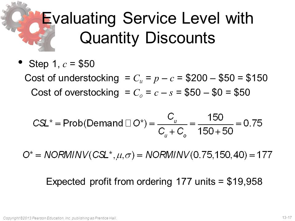 Evaluating Service Level with Quantity Discounts