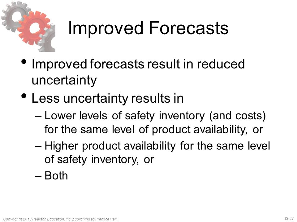 Improved Forecasts Improved forecasts result in reduced uncertainty