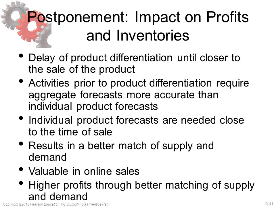 Postponement: Impact on Profits and Inventories
