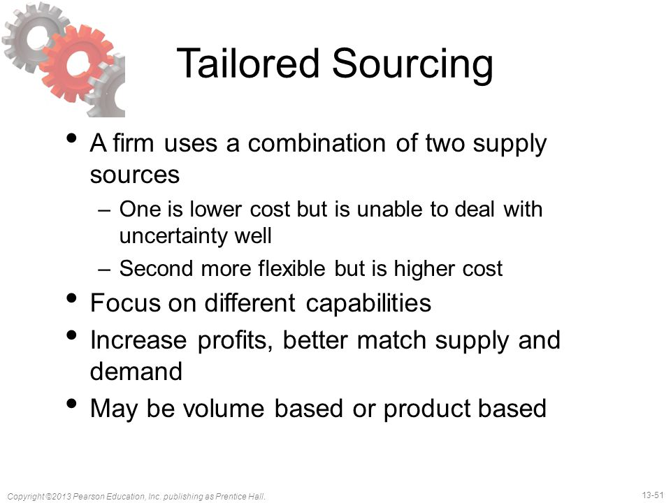 Tailored Sourcing A firm uses a combination of two supply sources
