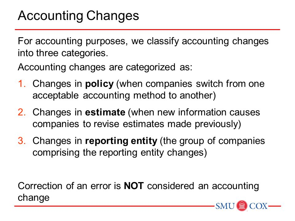 Accounting Changes For accounting purposes, we classify accounting changes into three categories. Accounting changes are categorized as: