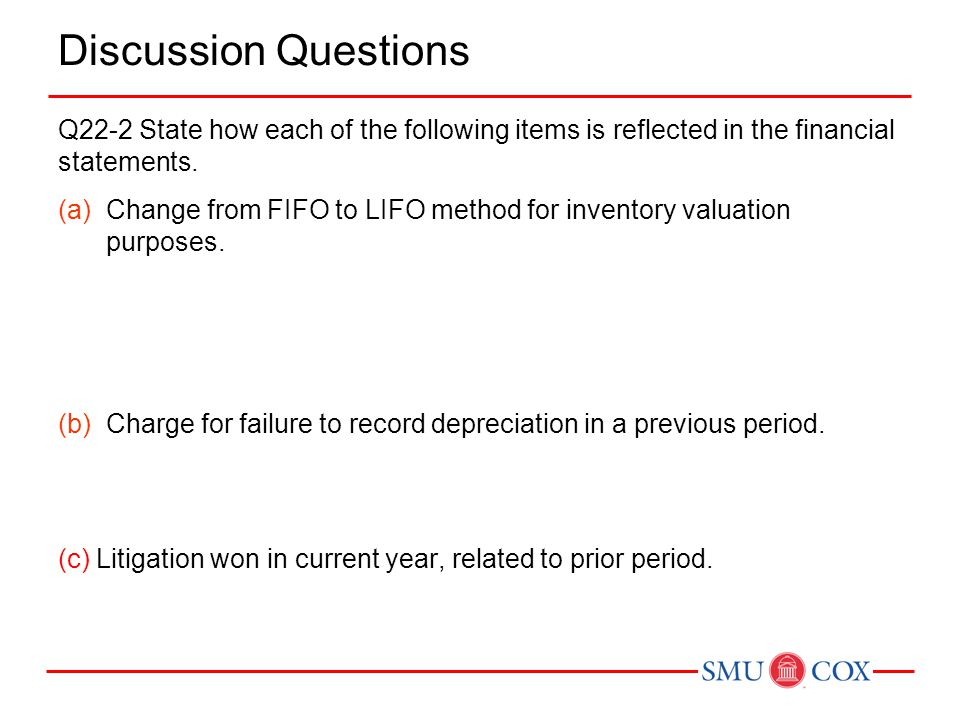Discussion Questions Q22-2 State how each of the following items is reflected in the financial statements.