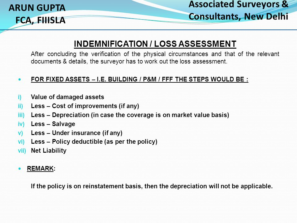 INDEMNIFICATION / LOSS ASSESSMENT