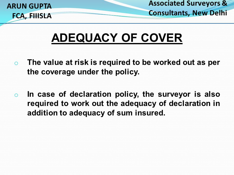ADEQUACY OF COVER ARUN GUPTA