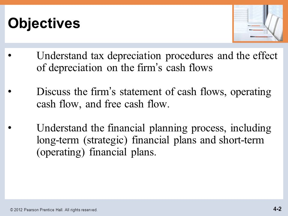 Objectives Understand tax depreciation procedures and the effect of depreciation on the firm's cash flows.