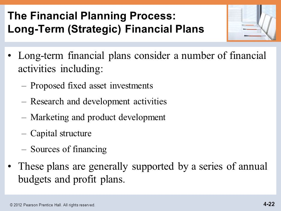 The Financial Planning Process: Long-Term (Strategic) Financial Plans