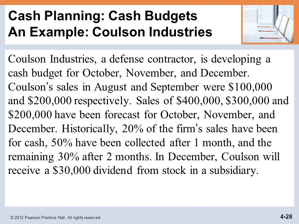 Cash Planning: Cash Budgets An Example: Coulson Industries
