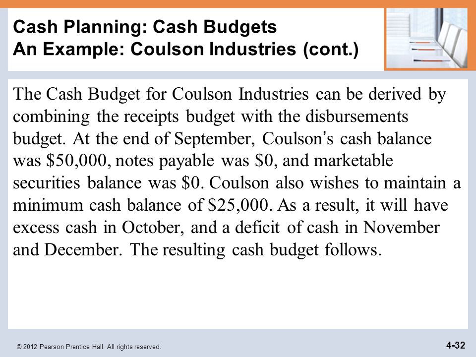 Cash Planning: Cash Budgets An Example: Coulson Industries (cont.)