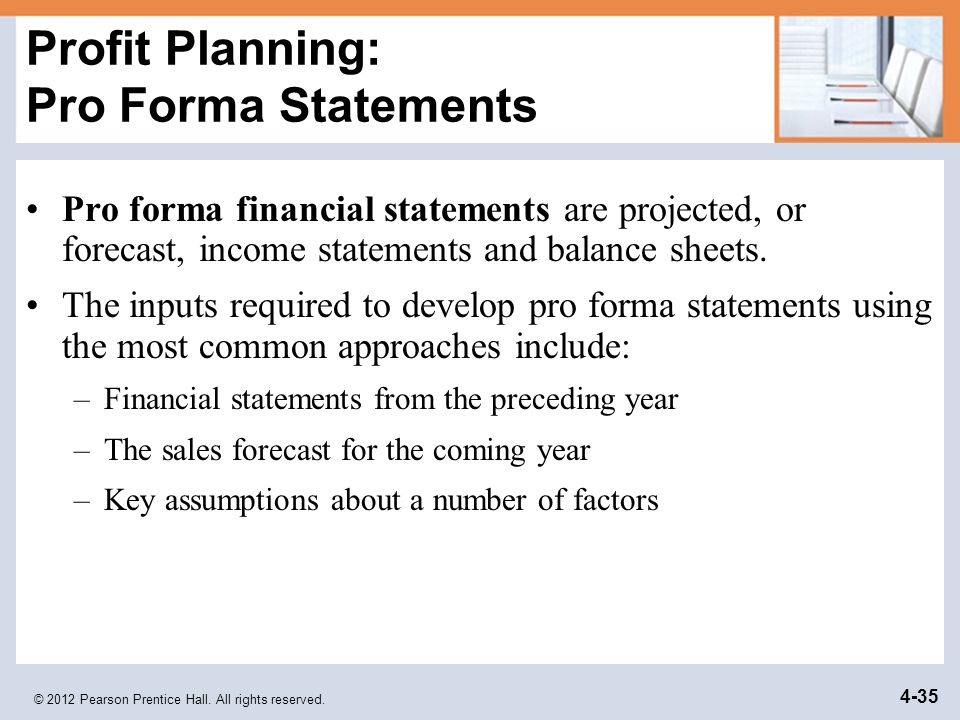Profit Planning: Pro Forma Statements
