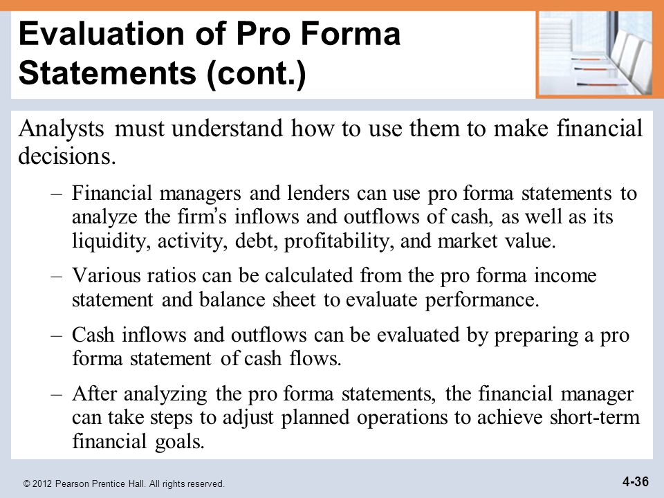 Evaluation of Pro Forma Statements (cont.)