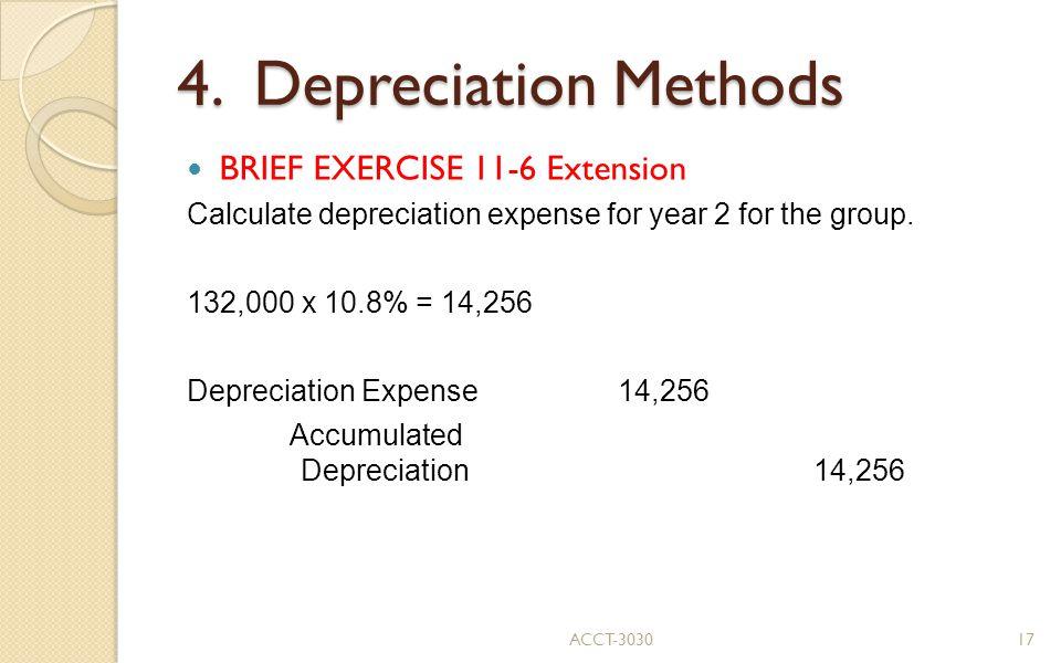 4. Depreciation Methods BRIEF EXERCISE 11-6 Extension