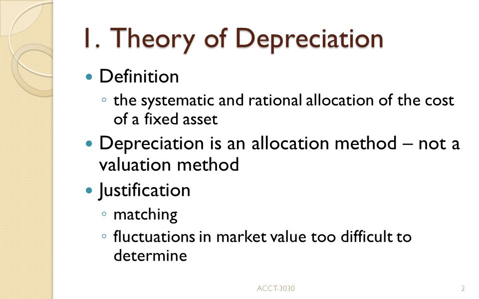1. Theory of Depreciation