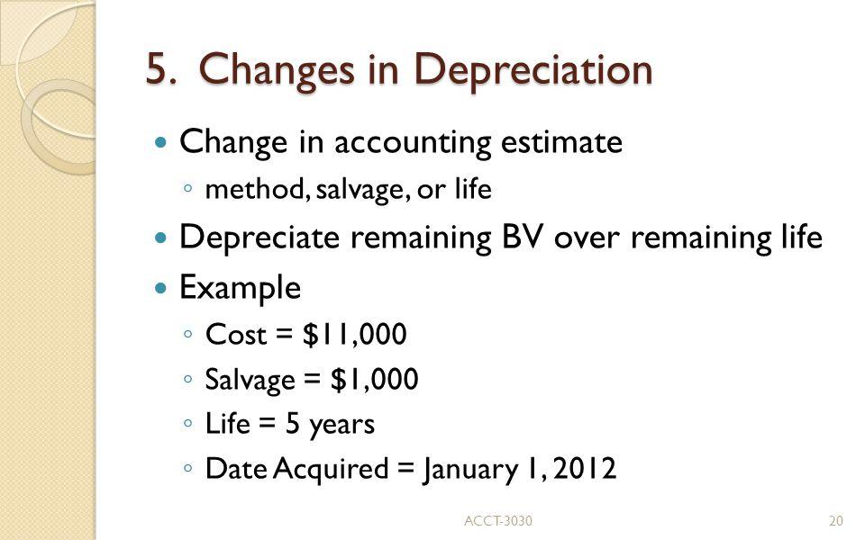 5. Changes in Depreciation