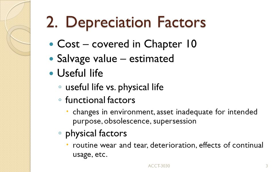 2. Depreciation Factors Cost – covered in Chapter 10
