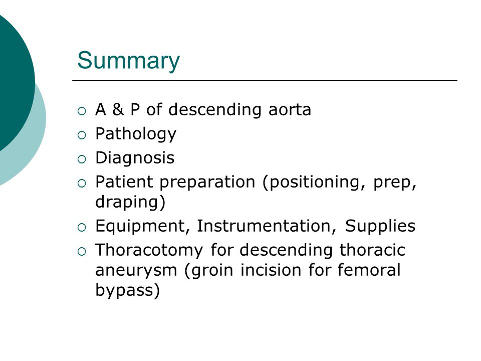Summary A & P of descending aorta Pathology Diagnosis