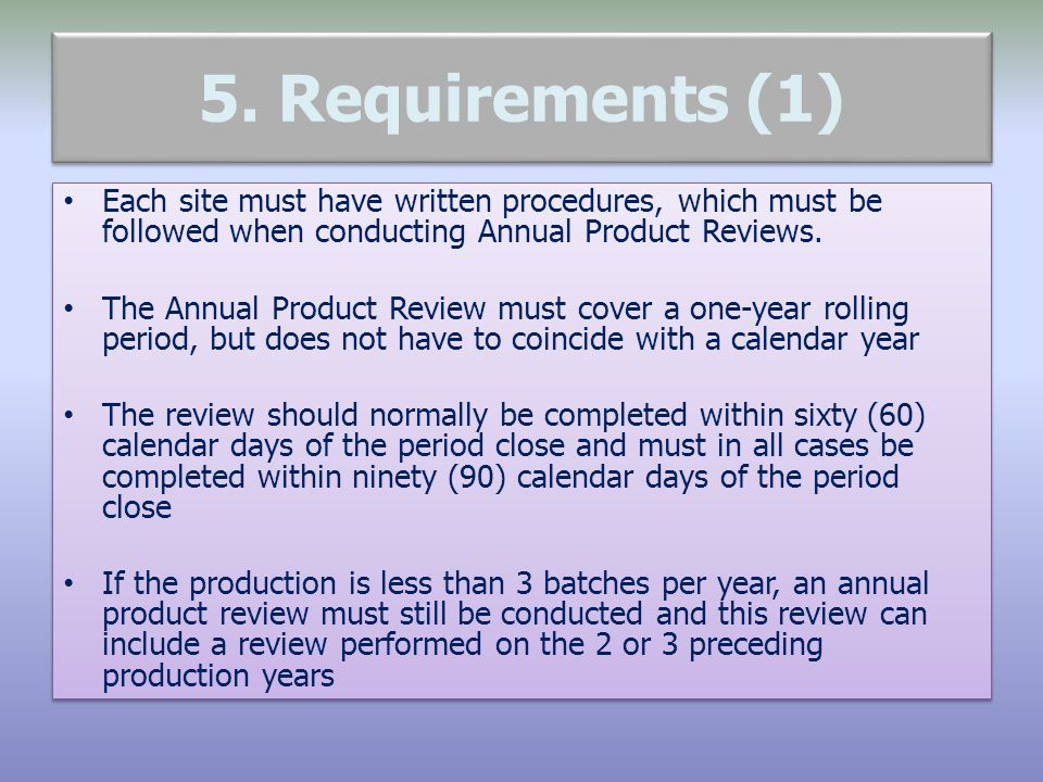5. Requirements (1) Each site must have written procedures, which must be followed when conducting Annual Product Reviews.