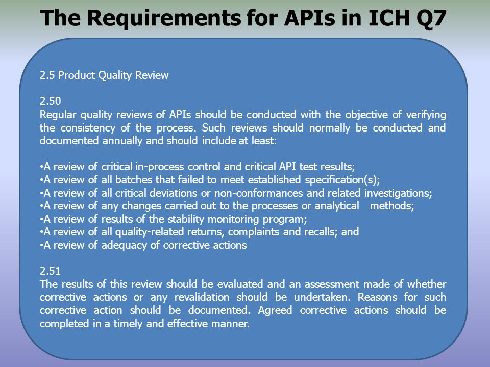 The Requirements for APIs in ICH Q7