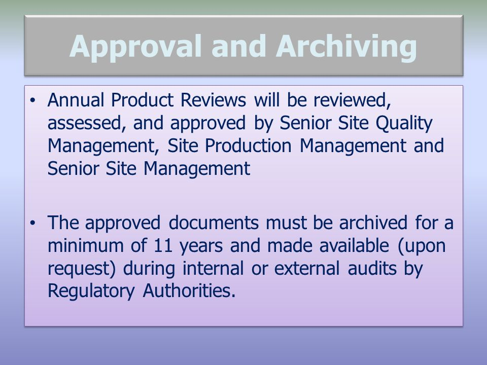 Approval and Archiving